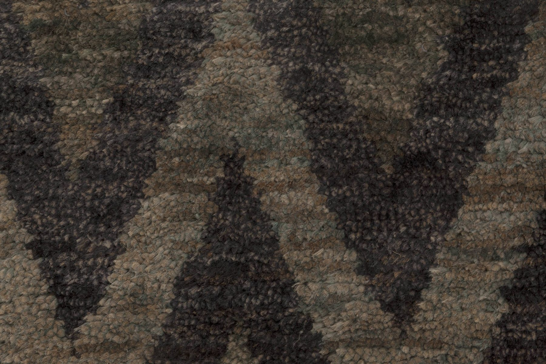 Contemporary Geometric Gray and Black Zigzag Hand Knotted Hemp Rug N11802