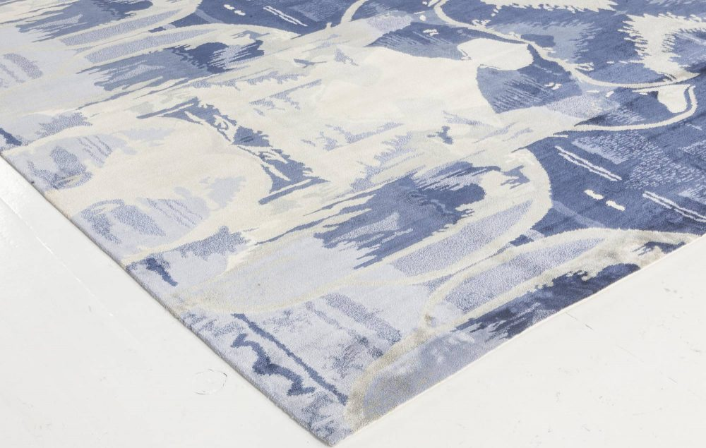 Contemporary Blucie Designed Hand Knotted Silk Rug N11763