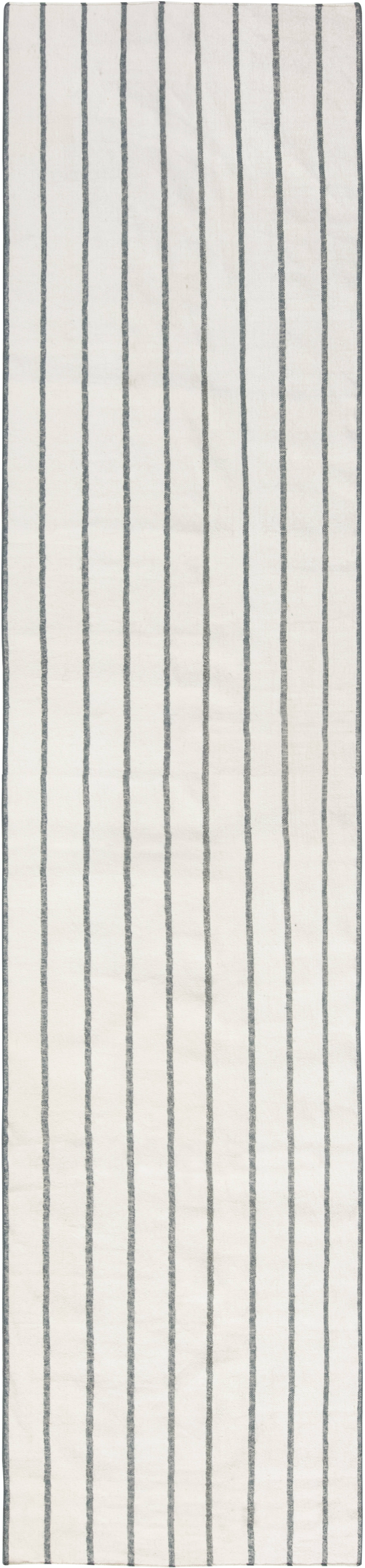 Modern Dhurrie Striped White and Blue Flat-Woven Cotton Runner N11791