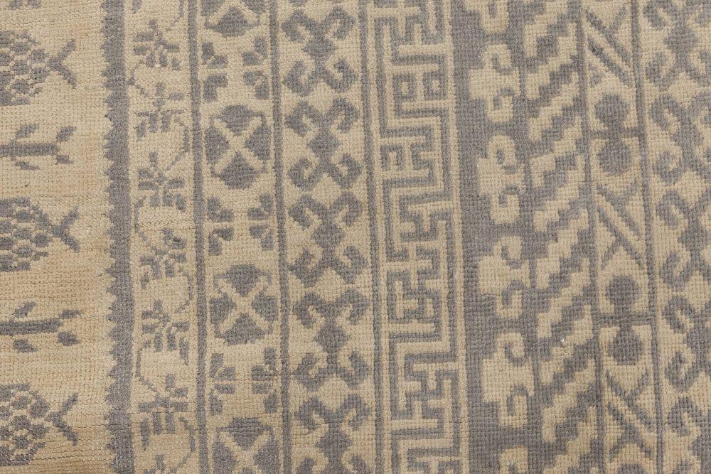 Modern Samarkand Beige and Gray Sepia Hand Knotted Wool Rug N11761