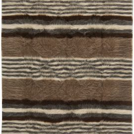 Contemporary Taurus Collection Striped Brown & White Goat Hair Rug N11450