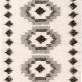 Stamverband I White and Black Hand Knotted Goat Wool Rug N11827