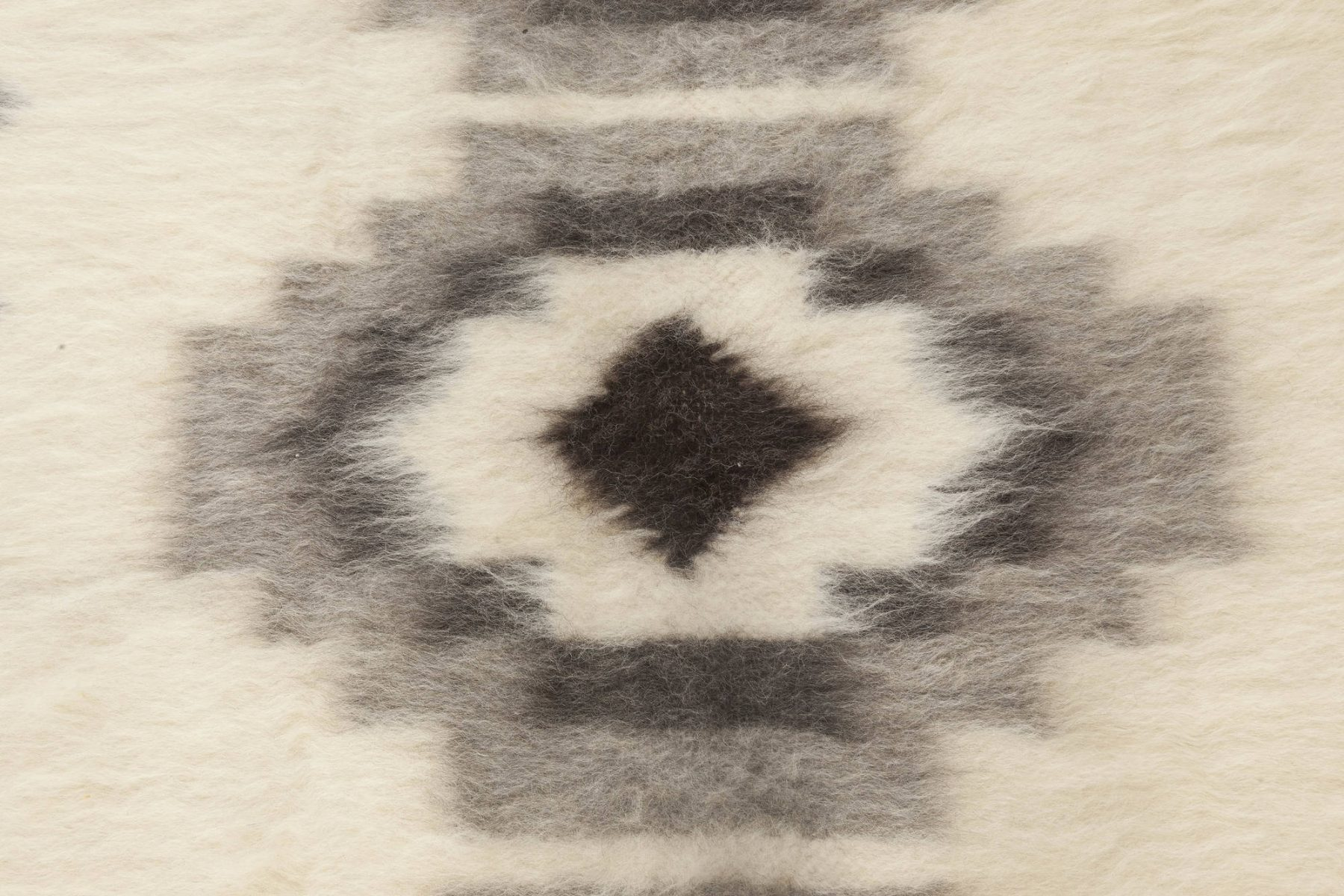 Stamverband I White and Black Hand Knotted Goat Wool Rug N11827