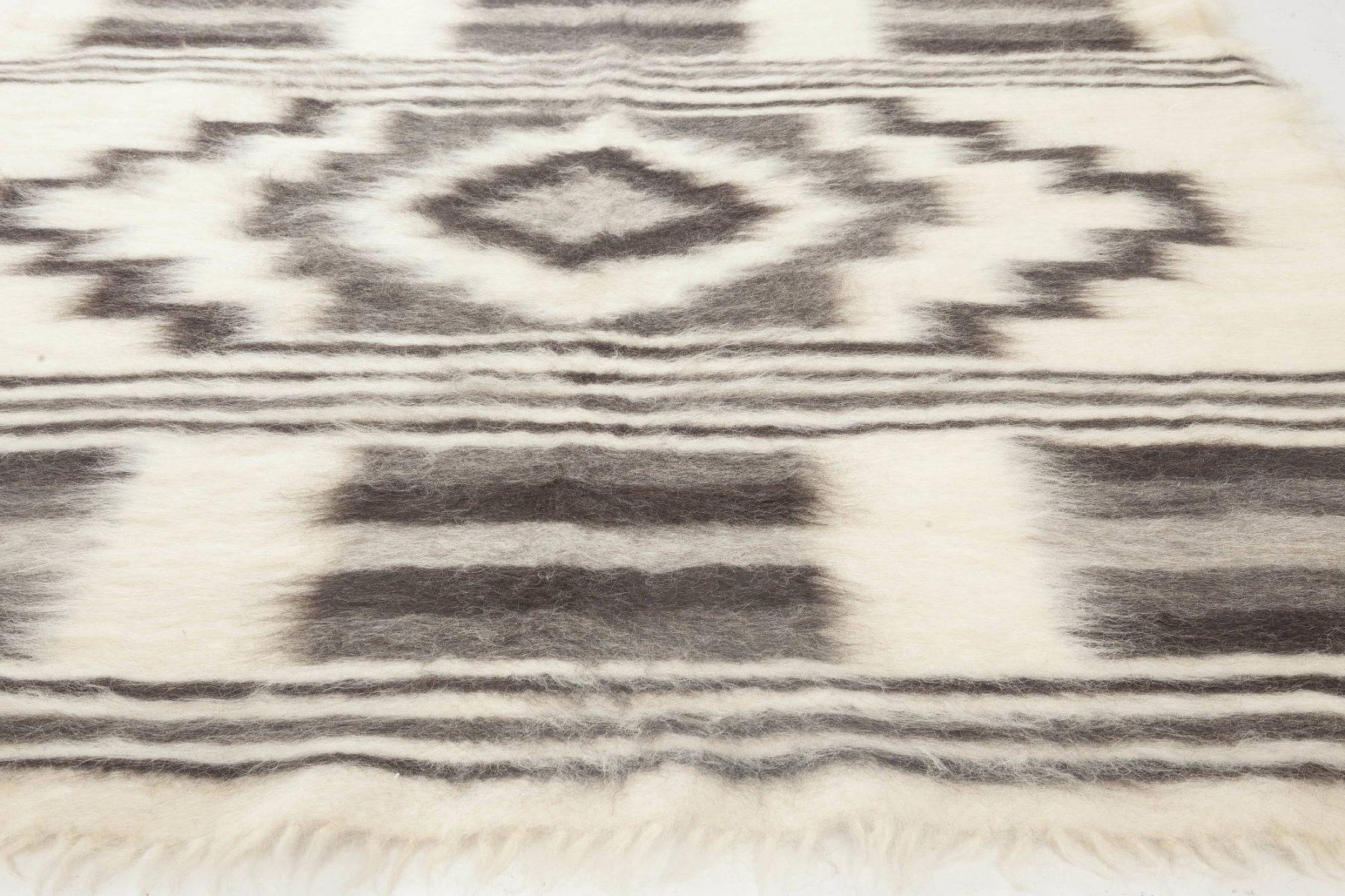 Stamverband VI Geometric Gray, White and Black Wool Rug N11832