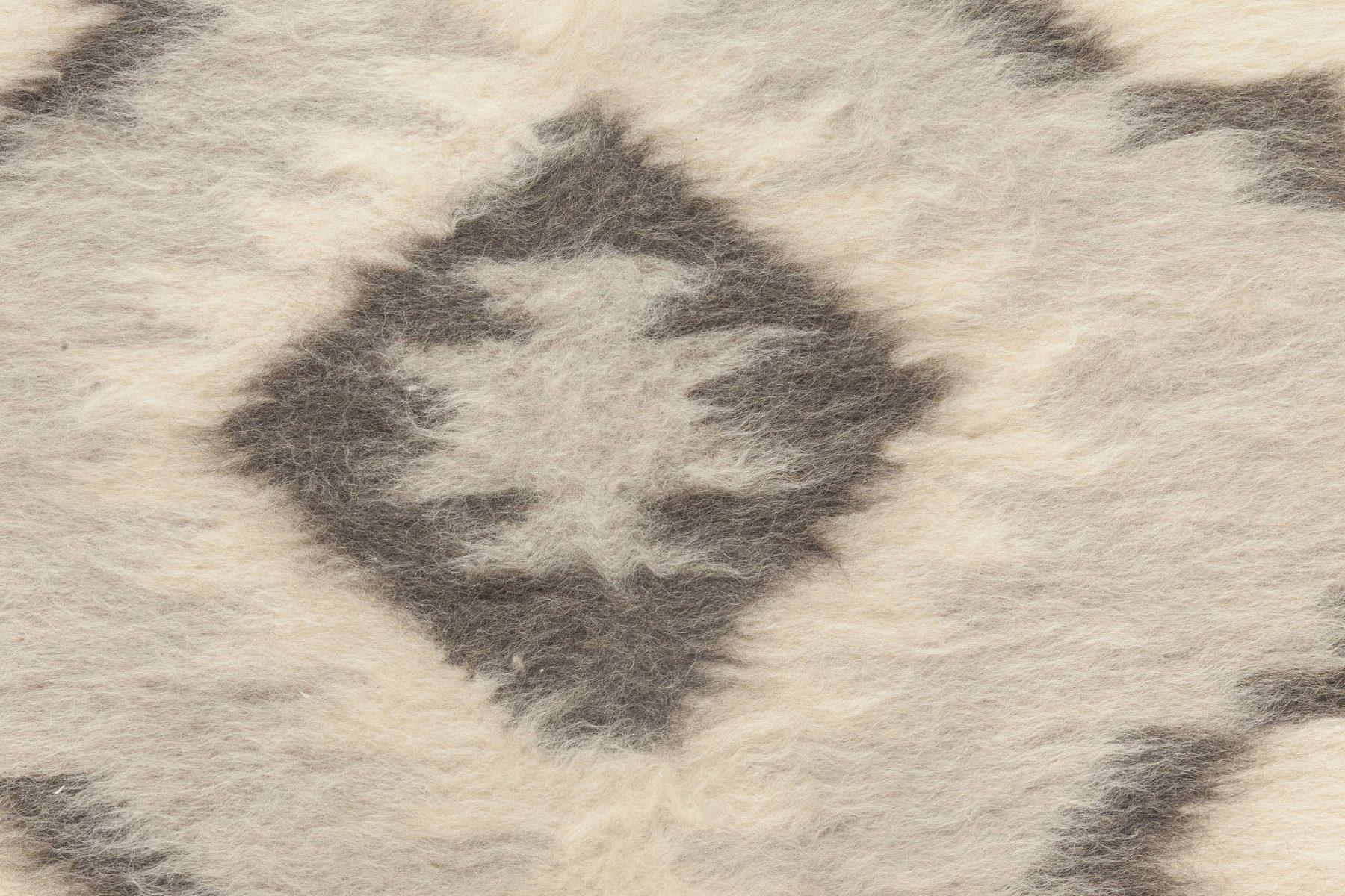 Geometric Stamverband V Steely Blue and White Goat Hair Rug N11831