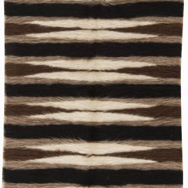 Taurus Collection Rug in Shades of Brown, White and Black Stripes N11466