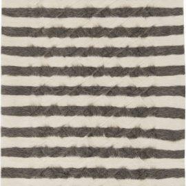 Modern Striped Creamy White and Dark Gray Taurus Collection Rug N11464
