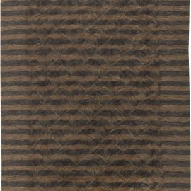 Taurus Collection Rug in Shades of Black and Walnut Brown Stripes N11467