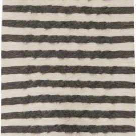 Goat Hair Taurus Collection Rug in Shades of White & Grey Stripes N11469