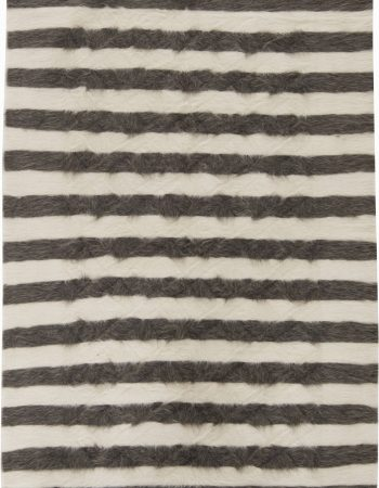 "Contemporary ""Stamverband VI"" Geometric Gray, White and Black Wool Rug N11832"