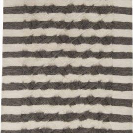 Modern Taurus Collection Creamy White and Dark Gray Striped Rug N11471
