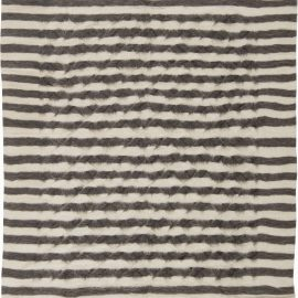 Goat Hair Taurus Collection Rug in Shades of White and Grey Stripes N11455