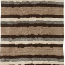 Taurus Collection Rug in Shades of Brown, White and Grey Stripes N11452