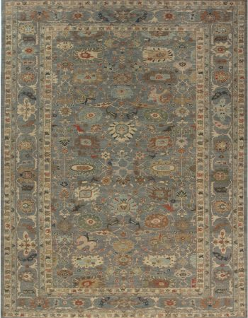 Contemporary Traditional Oriental Inspired Warm Beige Wool Rug N11422