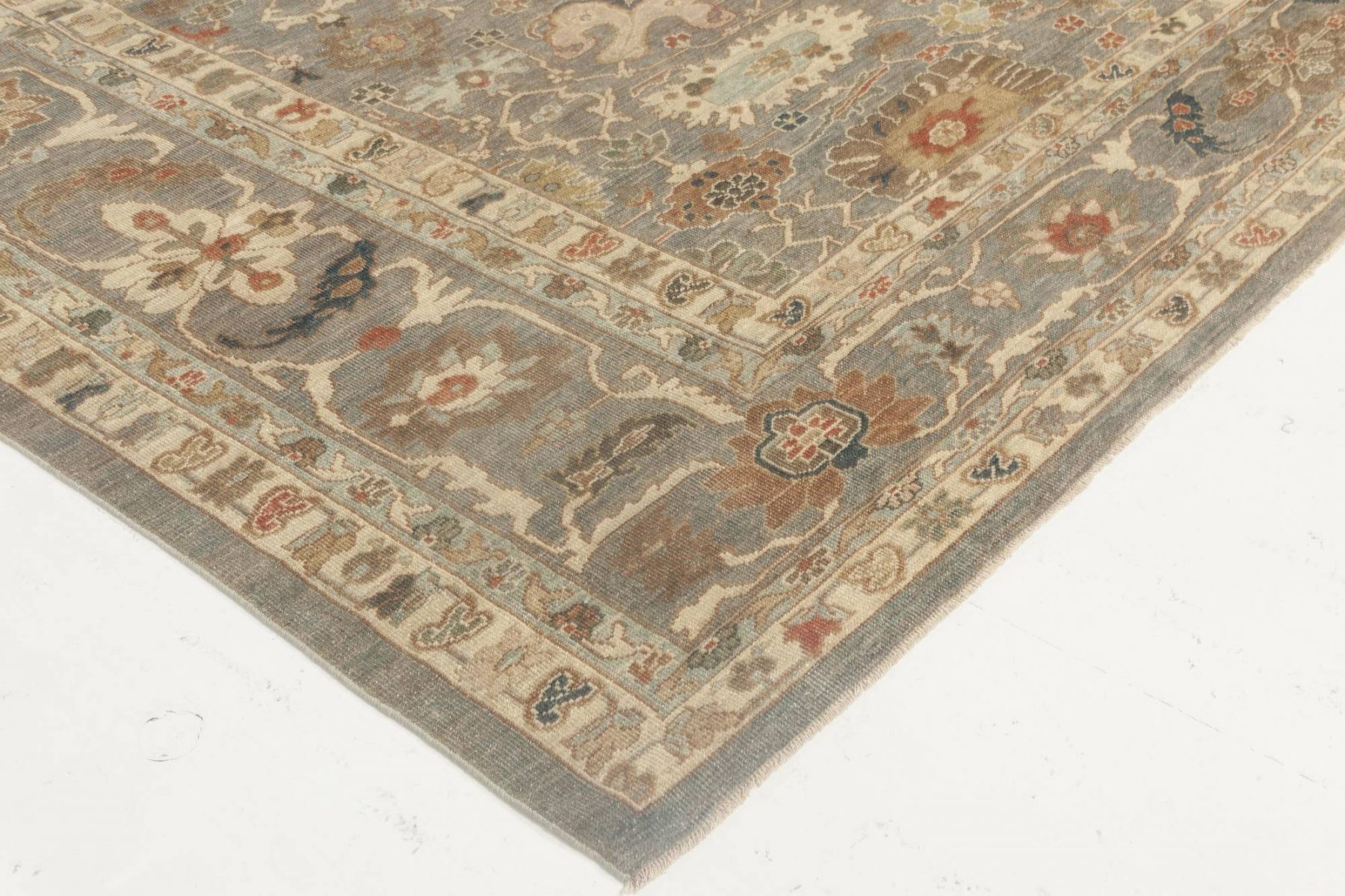 Traditional Sultanabad Design Blue and Gray Hand Knotted Wool Rug N11845