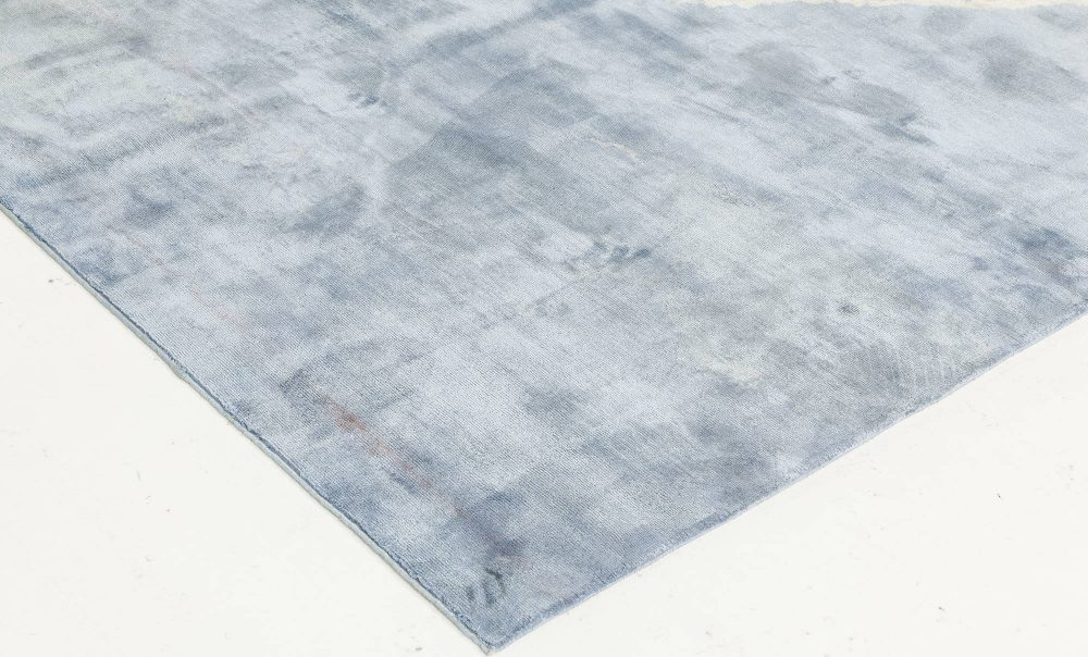Contemporary Blue Sea and Sand Hand Knotted Silk Runner N11770