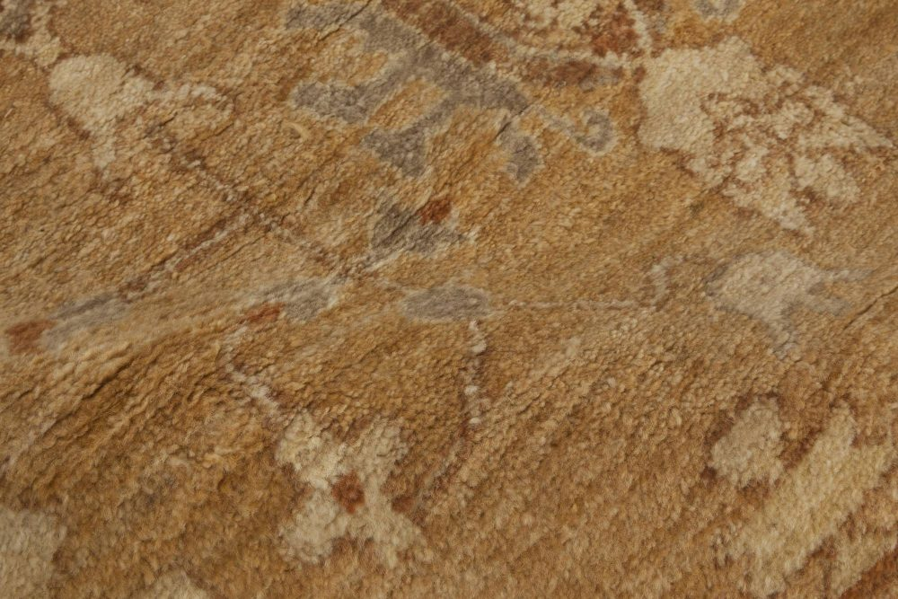Contemporary Traditional Inspired Tabriz Beige Rug (Fragment) N11794