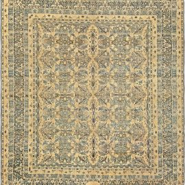 Antique Persian Kirman Beige, Inky Blue, Green and Brown Wool Rug BB6819