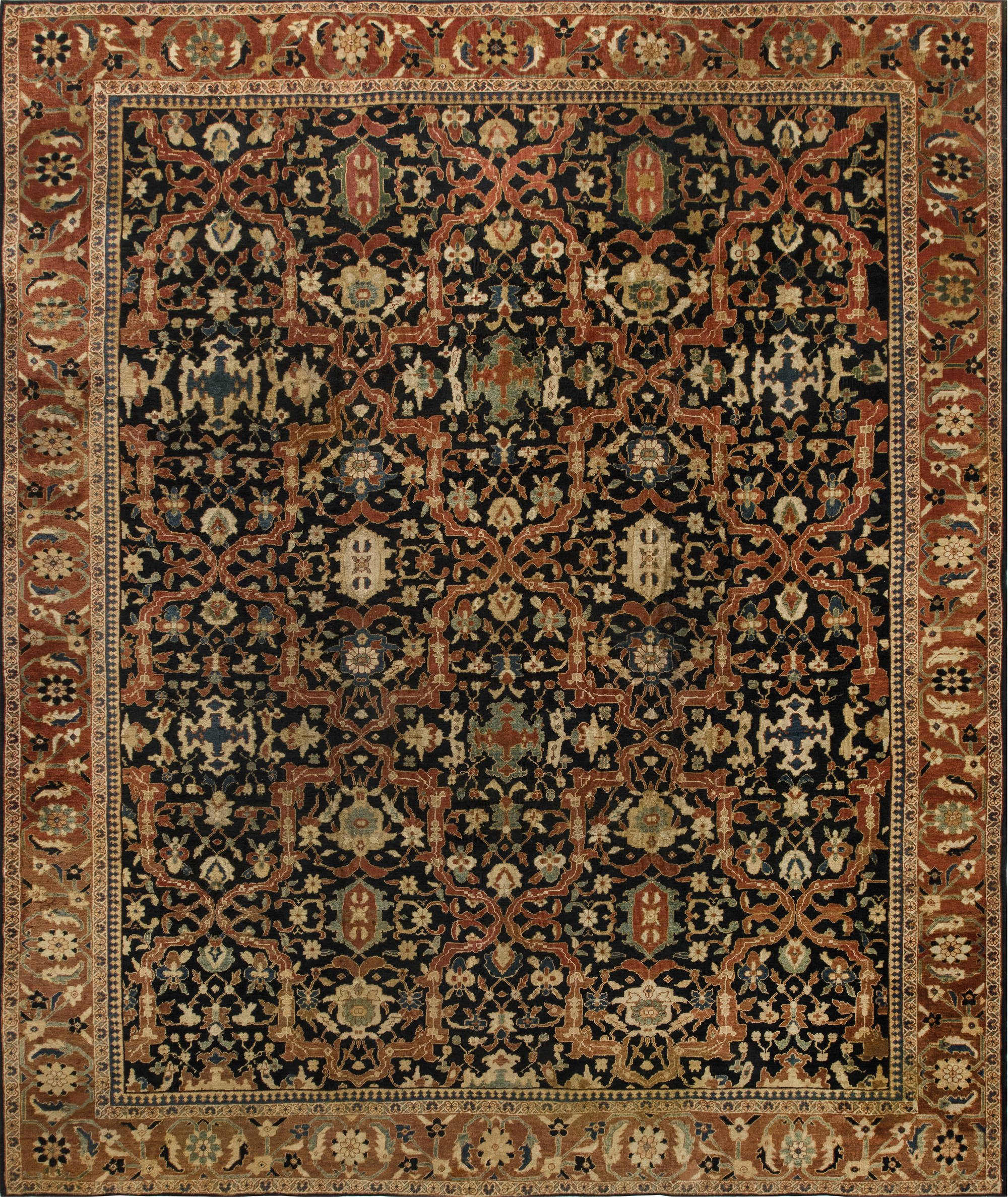 19th Century Persian Sultanabad Brick Red Handwoven Wool Carpet BB6673