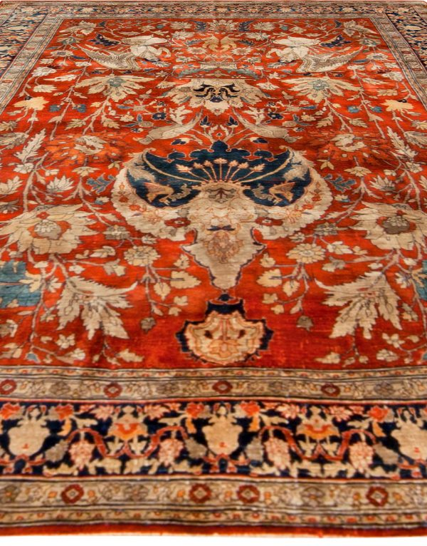 Antique Persian Tabriz Silk Rug BB6781