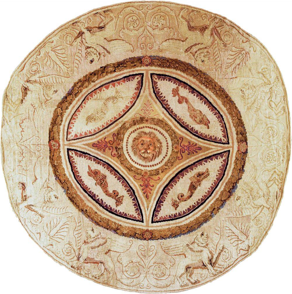Antique English Axminster Circular Rug BB6678