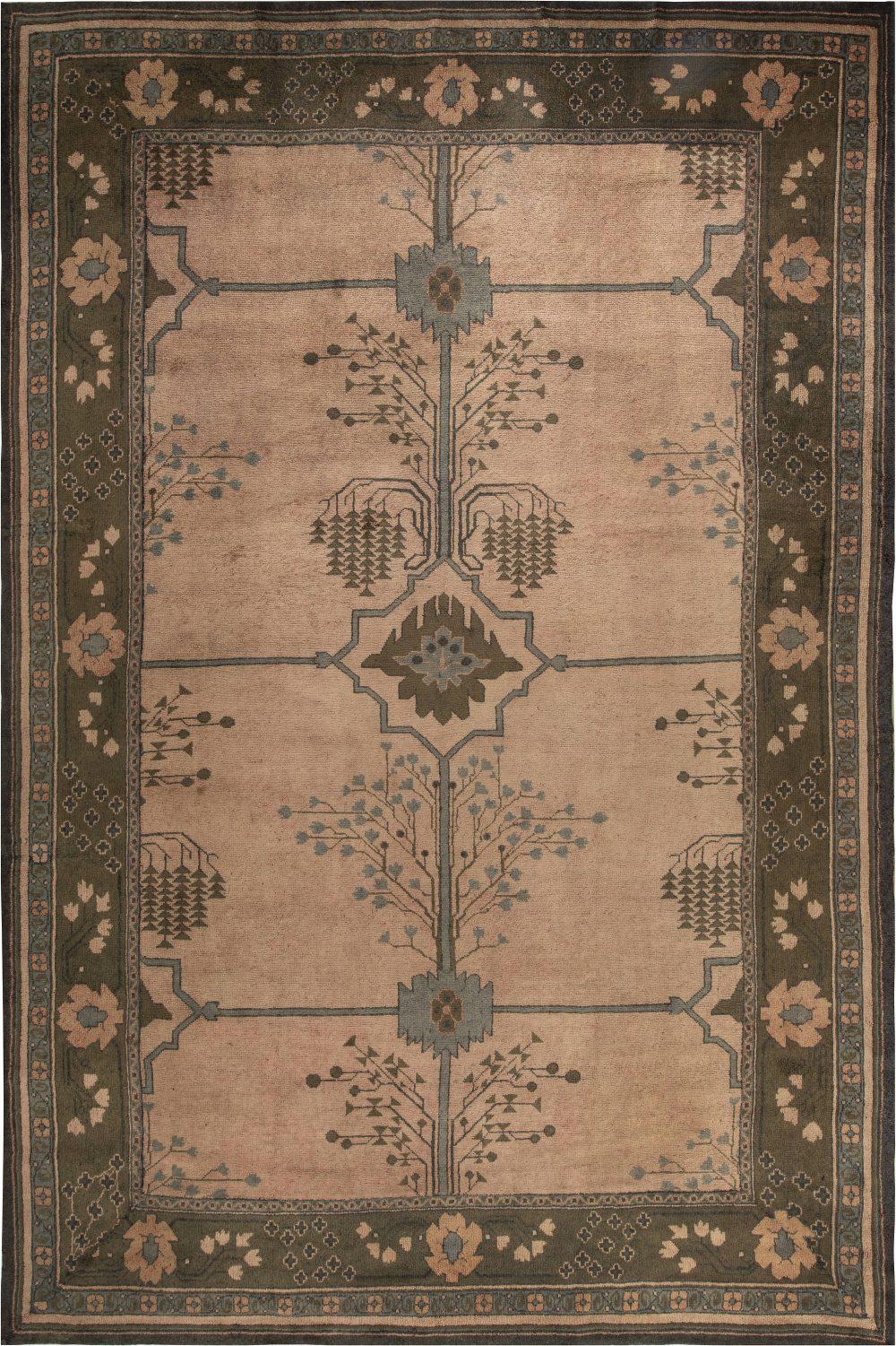 Arts & Crafts Dusty Pink, Blue & Taupe Rug by Gavin Morton (Size Adjusted) BB6841
