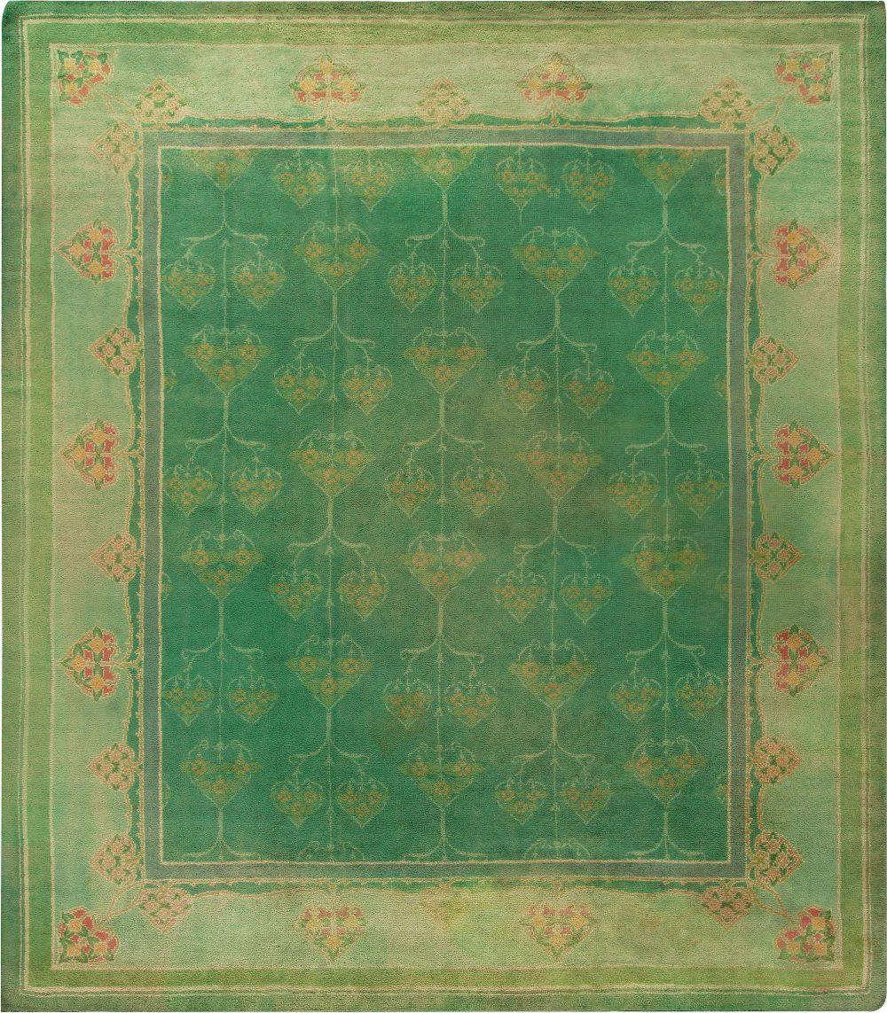 Antique Green Handwoven Wool Irish Donegal Rug BB6798
