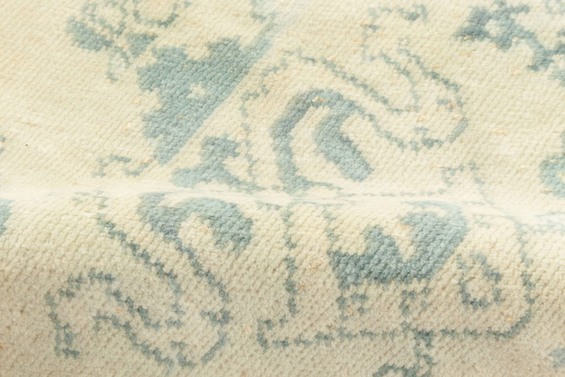 Vintage Spanish Blue & Ivory Hand-knotted Wool Rug BB6886