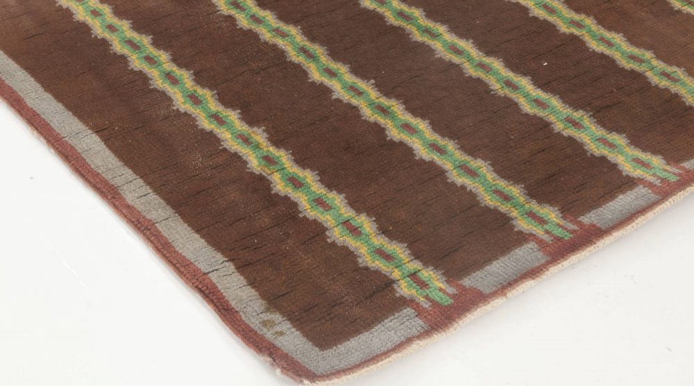 French Art Deco Handmade Wool Rug in Dark Brown, Blue and Lilac Color BB6639