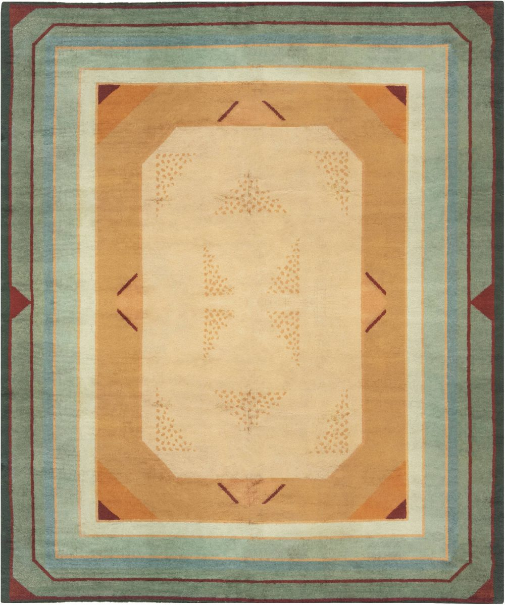 French Midcentury Green, Red and Yellow Art Deco Rug BB6641