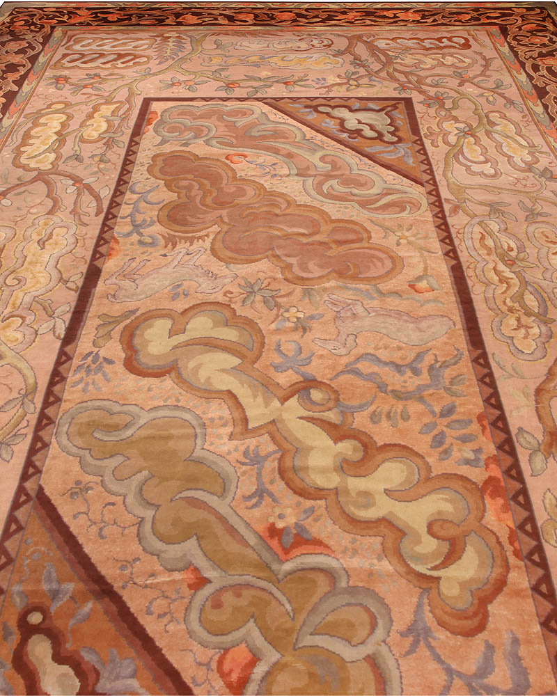Oversized Art Deco Rug in Beige, Red and Brown BB6674