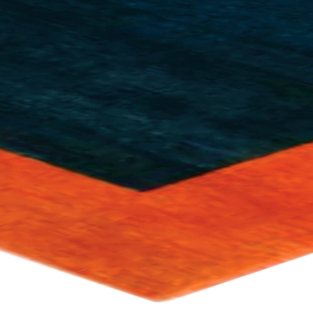 Art Deco Midnight Blue and Orange Handwoven Wool Rug BB6715