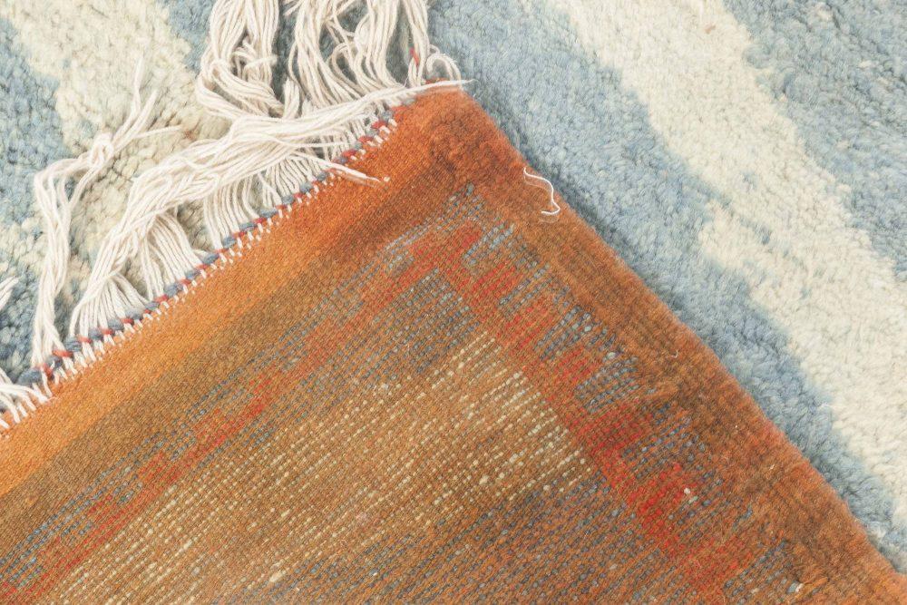 Mid Century Moroccan Light Blue, White & Pale Orange Handwoven Rug BB6890