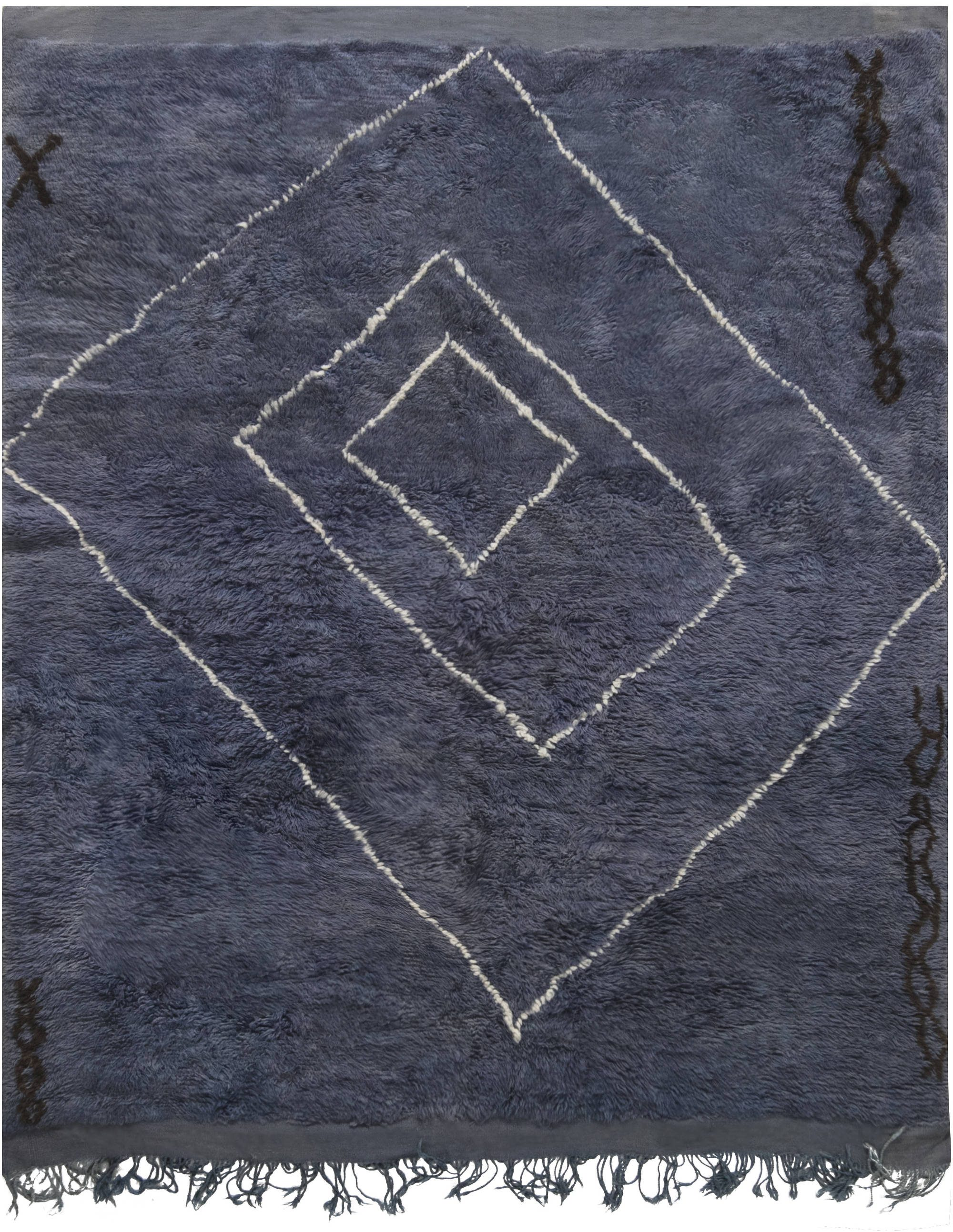 Midcentury Moroccan Reversible Deep Blue Hand Knotted Wool Rug BB6877