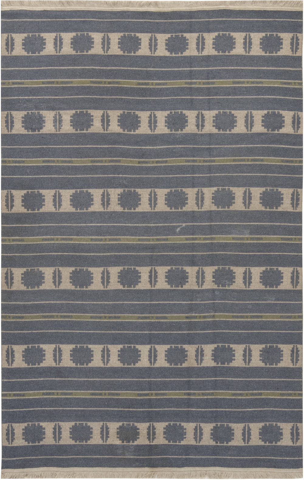 Swedish Beige, Blue and Green Double Sided Flat-Woven Wool Rug BB6660