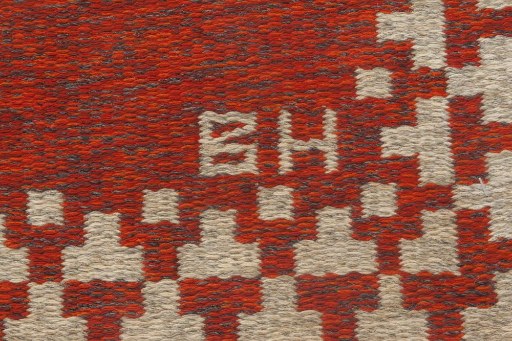 Swedish Flat-Weave Double Sided Red Rug Signed with Initials BH BB6874