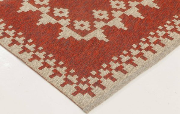 VINTAGE SWEDISH FLAT WEAVE DOUBLE SIDED RUG signed with  initials BH BB6874