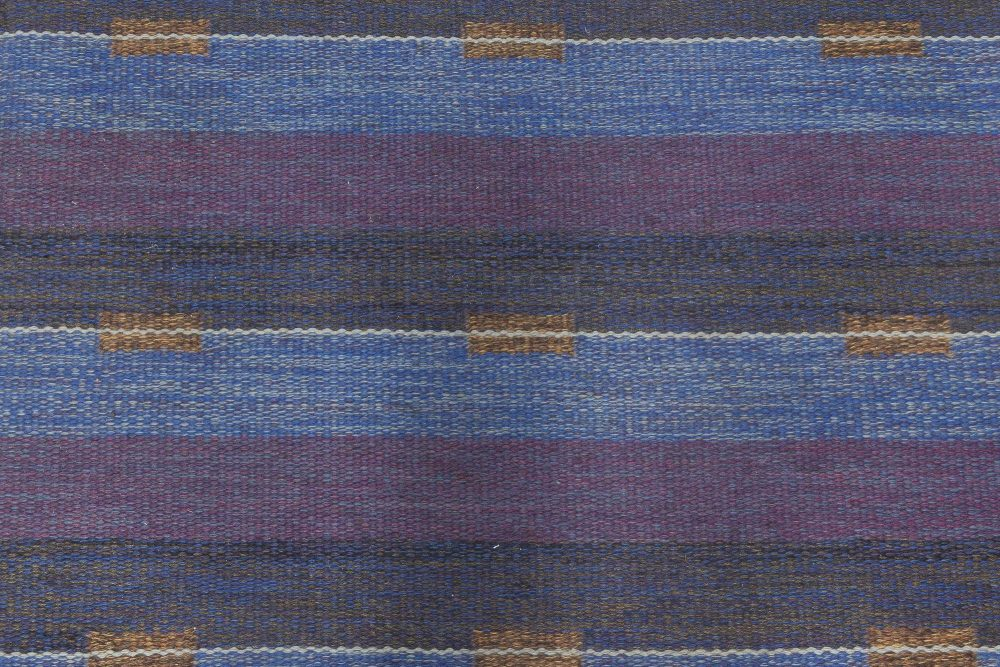 Mid-Century Modern Reversible Flatweave Wool Rug with Blue and Violet Stripes BB6638
