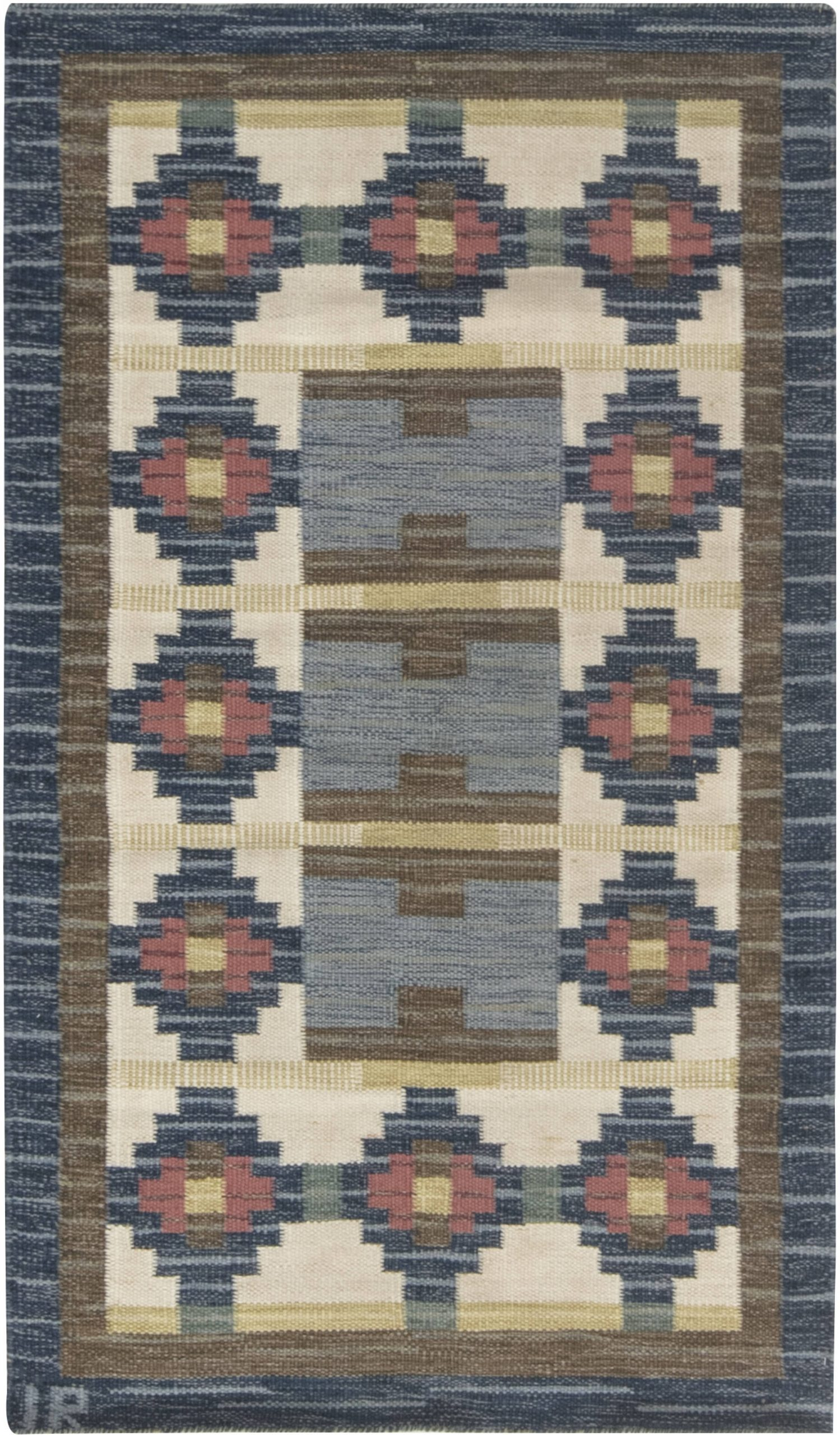 Vintage Swedish Flat weave rug by Ida Rydelius BB6663