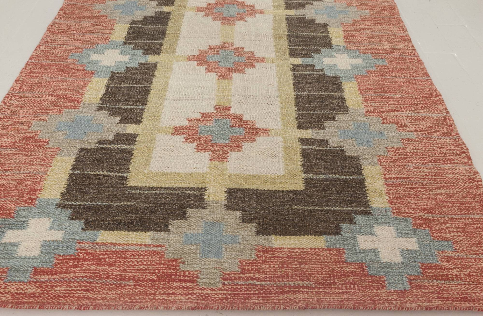 Mid-century Swedish Flat-Weave Runner by Sverker Greuholm BB6664