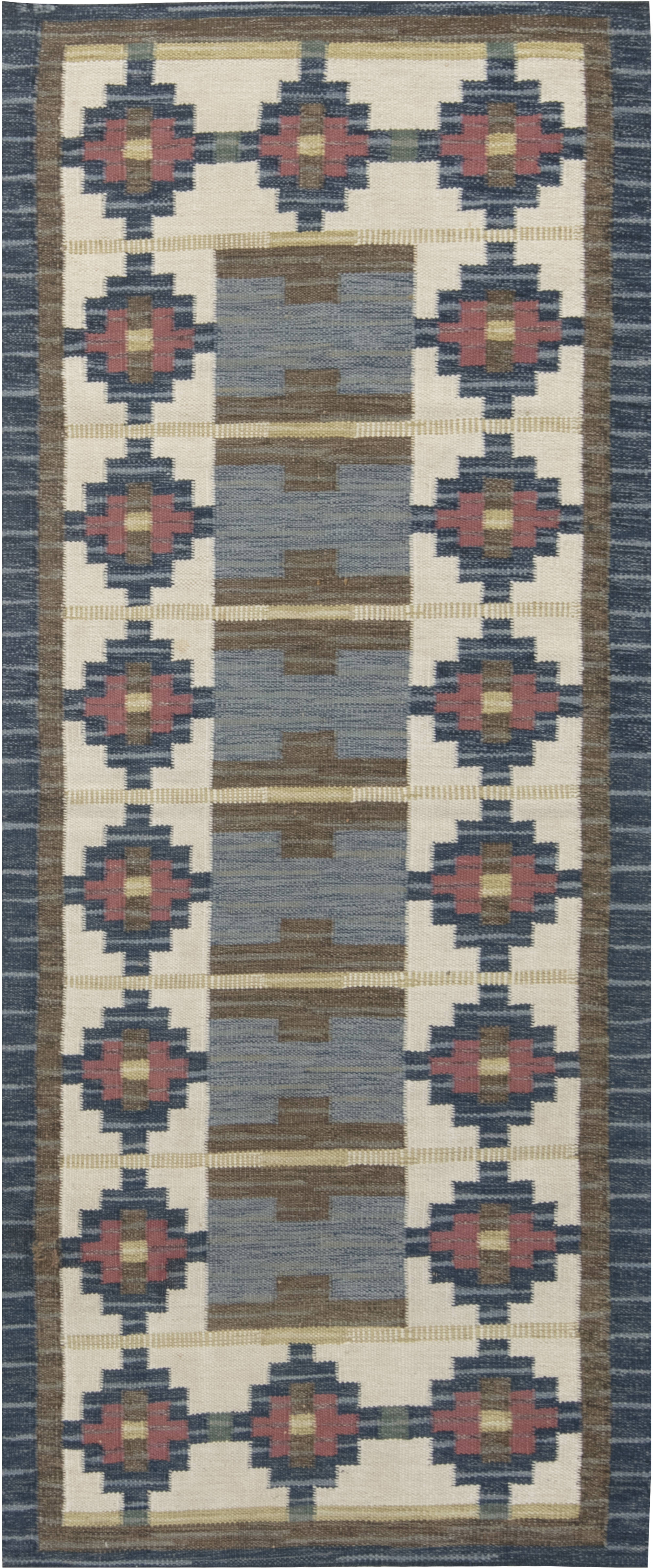 VINTAGE SWEDISH FLAT WEAVE RUG BY IDA RYDELIUS BB6662