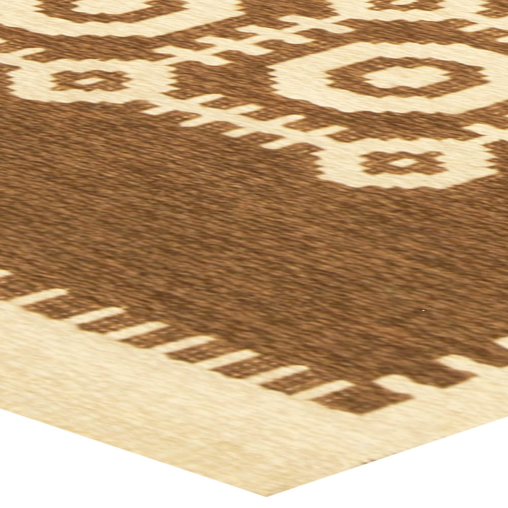 Vintage Scandinavian Reversible Flatweave Rug with Traditional Geometric Design in Cream and Brown BB6787