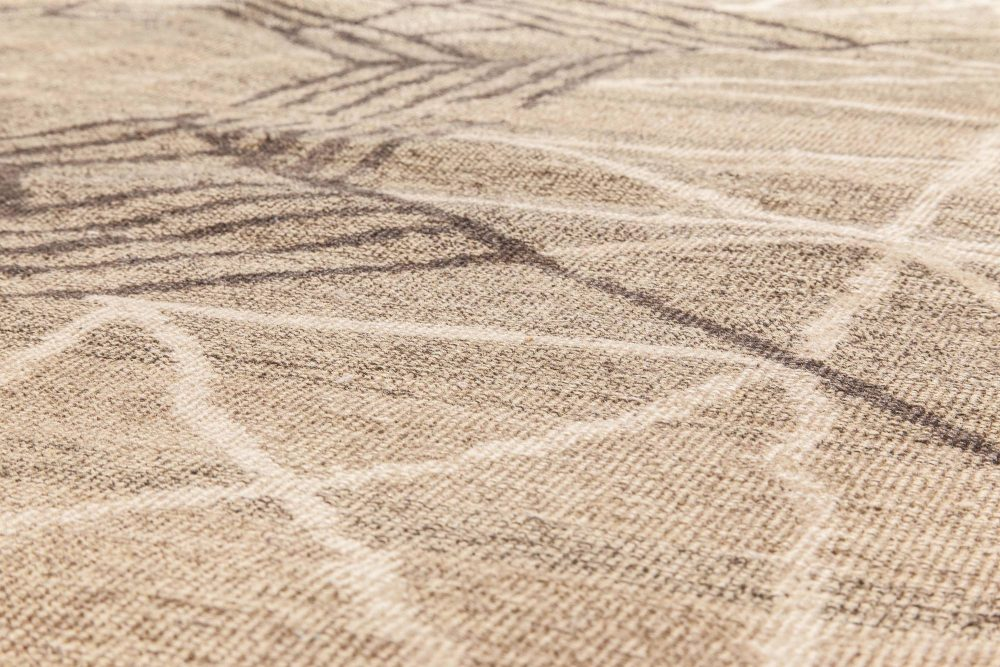 Midcentury Art Deco Dark Brown Handwoven Wool Rug BB6622
