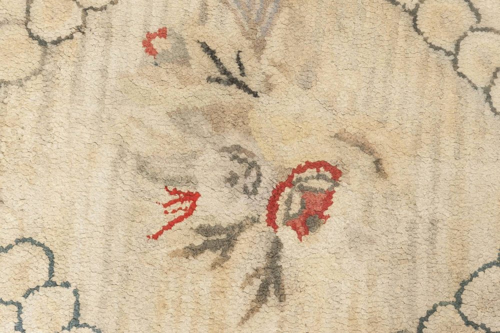 Vintage Hooked Floral Carmine and Beige Hand Knotted Wool Rug BB6650