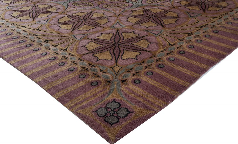 Viennese Secessionist Violet Blue and Yellow Floral Handwoven Rug BB6844