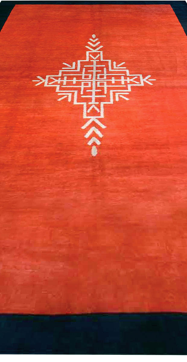 French Art Deco Red Rug with Navy Border and Ivory Central Medallion BB6716