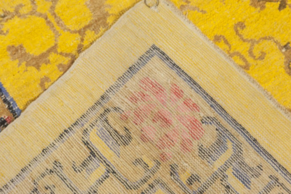 Antique Chinese Yellow, Pink, Blue and Brown Hand Knotted Silk Rug BB6903