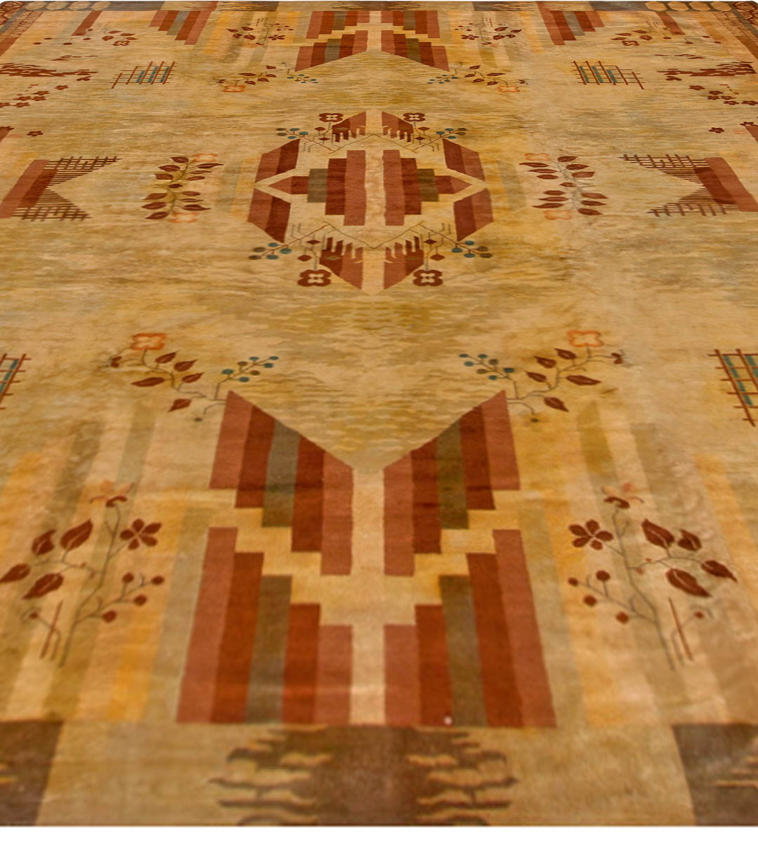 Vintage French Art Deco Red, Brown and Beige Handwoven Wool Rug BB6768