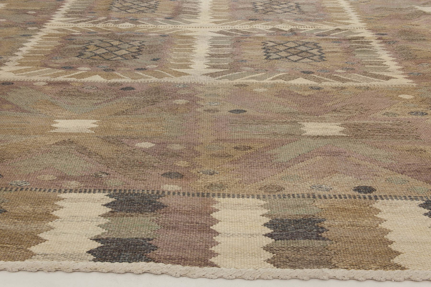 "Mid-Century Carnation Tapestry Weave Rug by Marta Maas-Fjetterstrom. Woven signature to edge ""AB MMF BN"" BB6849"