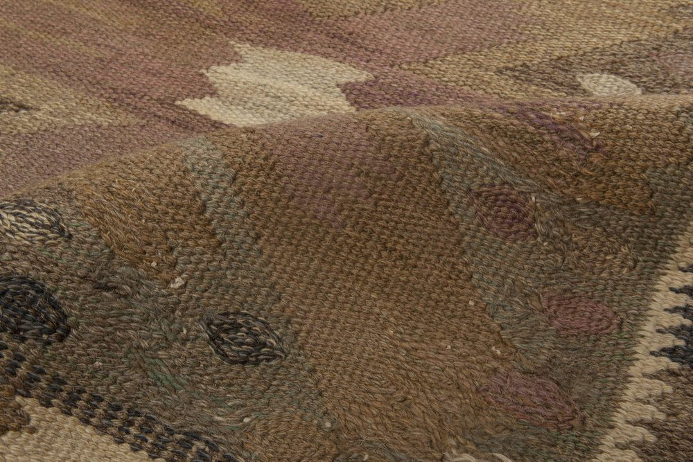 """Mid-Century Carnation Tapestry Weave Rug by Marta Maas-Fjetterstrom. Woven signature to edge """"AB MMF BN"""" BB6849"""